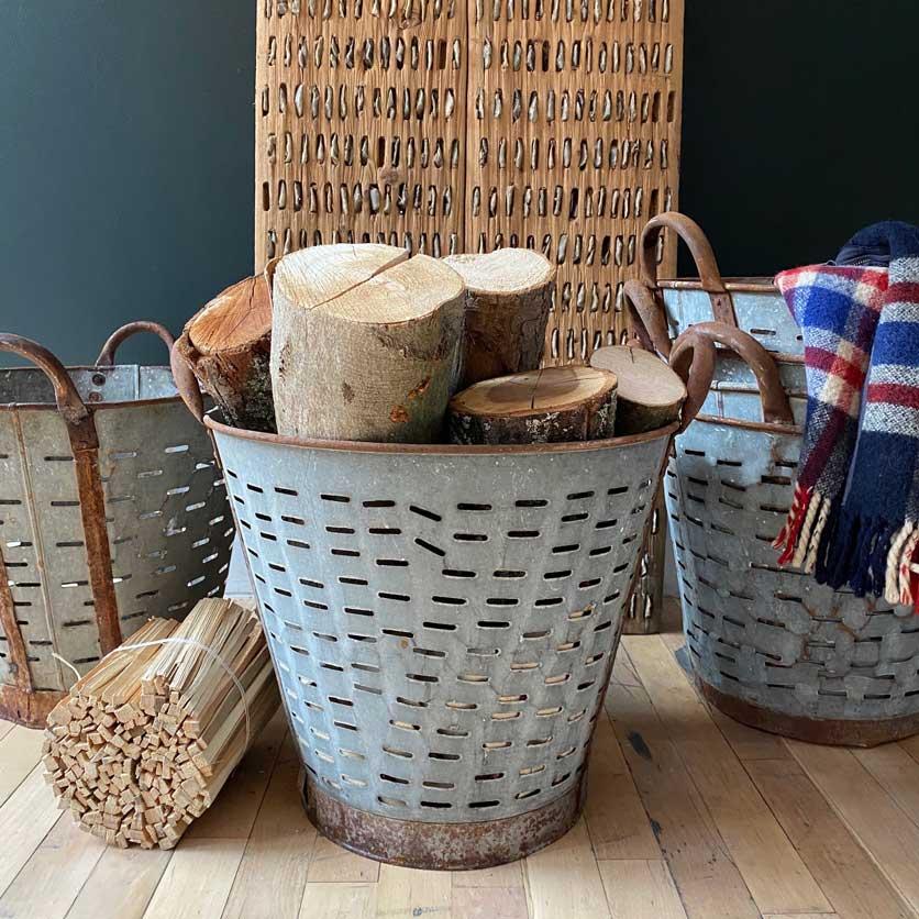 Vintage Grape Basket   Log Storage