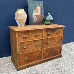 Antique pine bank of drawers