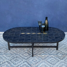 Oval Coffee Table | Geometric Tile Mosaic Top | £825 A stunning coffee table with an organic oval shaped top. The handcrafted top features beautiful ceramic black tiles in a geometric layout.