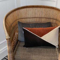 Triangle Patterned Velvet cushion | brick orange