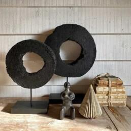 Decorative Black Wooden Circles Artwork