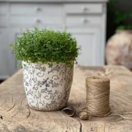 Glazed decorative flower pot   indigo print