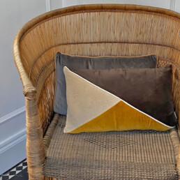 Triangle Patterned Velvet cushion