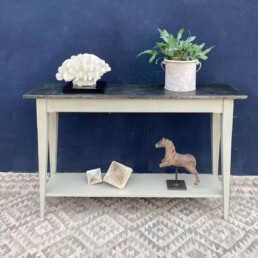 Metal Topped Slim Console Table with shelf