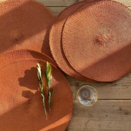 woven circular placemat terracotta | set of four
