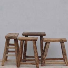 Rustic Wood Antique Stool | Selected Measured