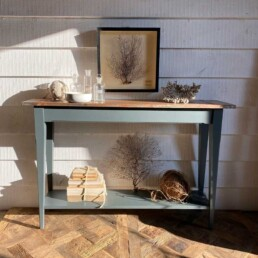 Copper topped slim console table with shelf
