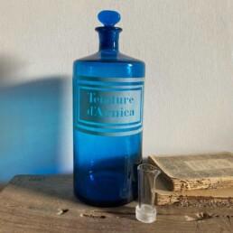 Antique blue apothecary bottle - d'Arnica