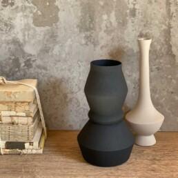 Black Sculptural metal vase