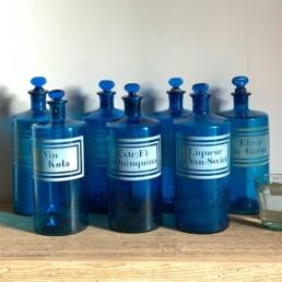 Antique blue apothecary bottles