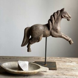 Antique carved model horse on stand | Christian