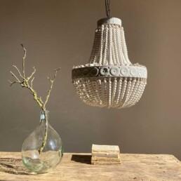 Wooden Bead Chandelier | White