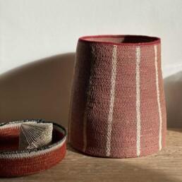 Stripe basket | Dusty pink