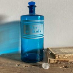 Antique blue apothecary bottle - Kola
