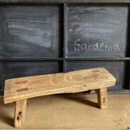 Antique rustic wood footstool | selected measured