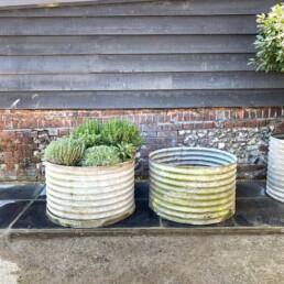 Huge Vintage Galvanised corrugated Water Tank | Pair
