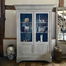 Antique French Glazed Cabinet | Pale Gray