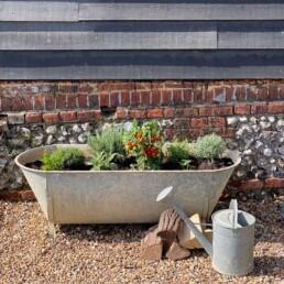Antique Victorian Galvanised Bath | Vegetable Planter
