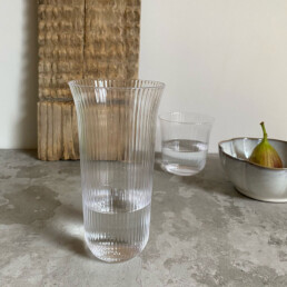 Clear Fluted Drinking Glass Large