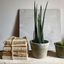 Neutral stone plant pot | Extra Large
