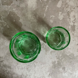 Transparent Drinking Glass Green | Large