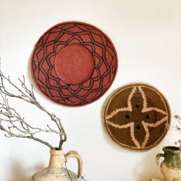 Ethnic woven plate plate medium | olive