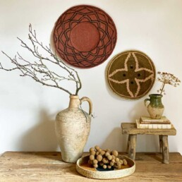 Ethnic woven decorative plate large | red