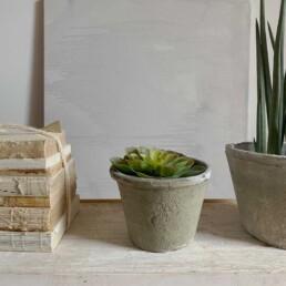Neutral stone plant pot | Large