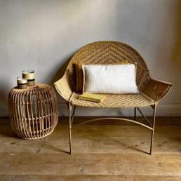 White Linen Cushion with string edge