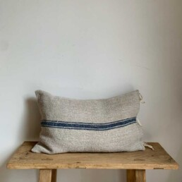 Grain Sack Blue pillow with ties | Large