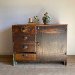 Antique Pine Cupboard with 3 Drawers
