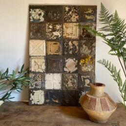 Vintage tin tile Patchwork Artwork | A