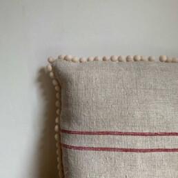 Grain Sack Pom Pom Pillow Large