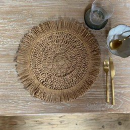 Round Placemat Fringed Natural