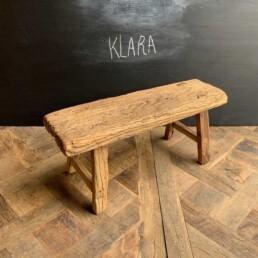 Klara Antique rustic wood footstool | selected measured