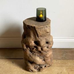 Rustic Elm Tree Trunk Side Table | Malachi