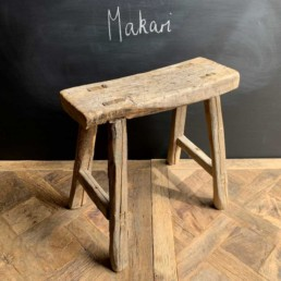 Makari Antique wooden small utility bench | selected measured