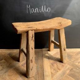 Manillo antique rustic elm saddle stool
