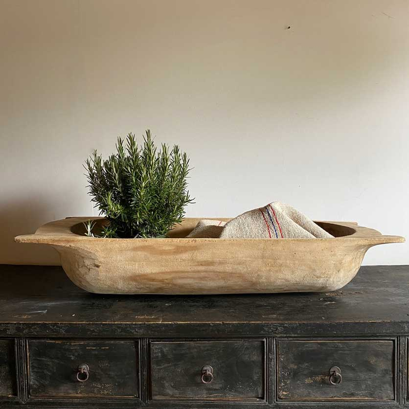 Large Antique Wooden Dough Bowl   Penelope