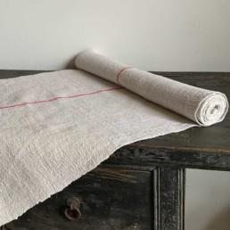 Vintage Grain Sack Linen Roll | Single Red Stripe