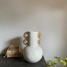 Large White Glazed Vase | Rattan Handles