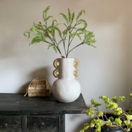 Large White Glazed Vase   Rattan Handles