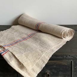 Vintage Grain Sack Linen Roll | Blue & Red Stripe
