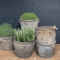 Antique Oriental Grey Clay Pot (Four Handle)