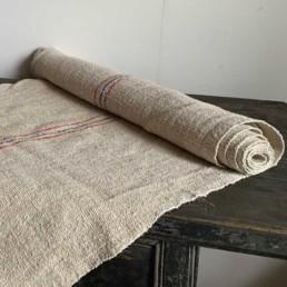 Vintage Grain Sack Linen Roll | Fine Blue & Red Stripe
