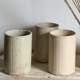 Striped Stoneware Jam Jars   Large