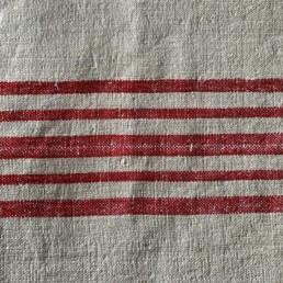 Vintage Grain Sack Linen Roll | Red Stripes