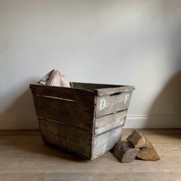 Antique French champagne trug | white lettering