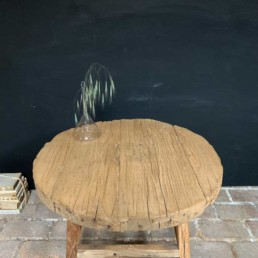 Large reclaimed elm round side table