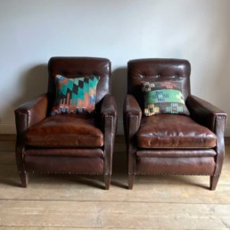 Antique French Leather Armchairs | Pair